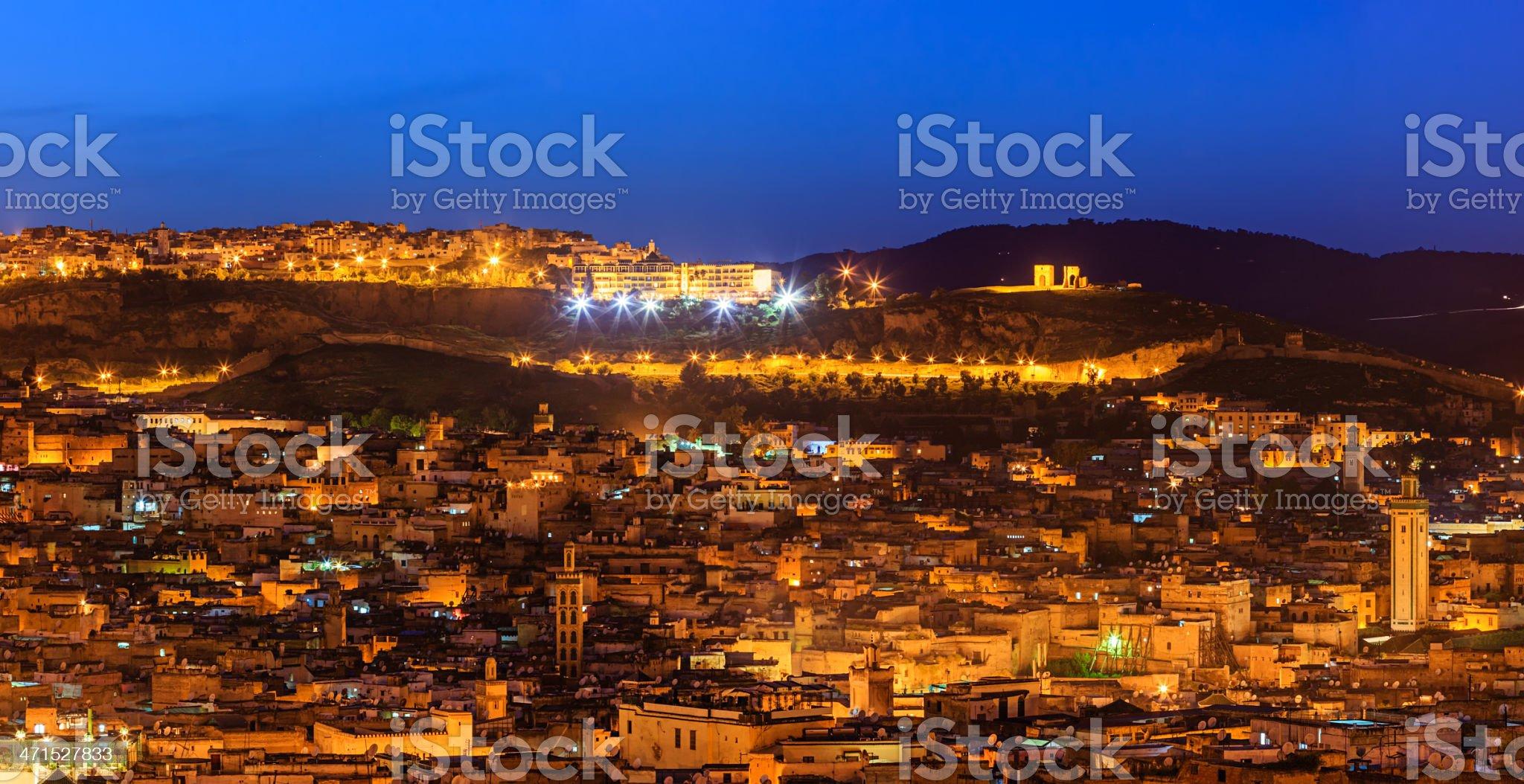 Night panoramic view of Medina in Fez royalty-free stock photo