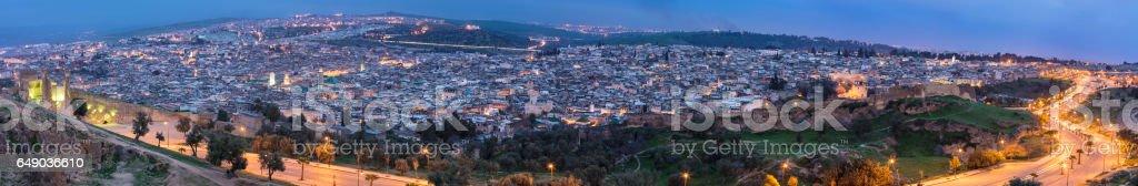 Night panoramic view of Medina in Fez stock photo