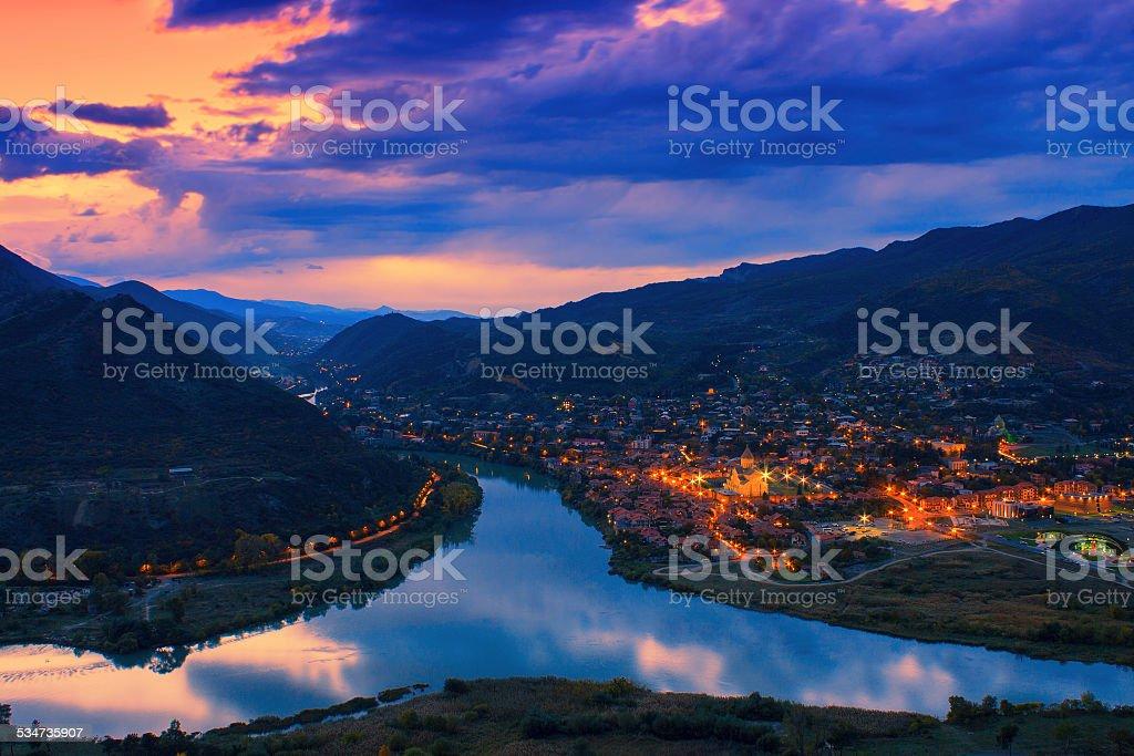 Night panoramic view of Mtskheta city stock photo