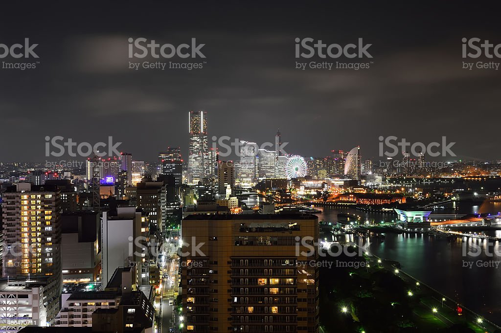 Night panoramic view of Yokohama City, Japan stock photo