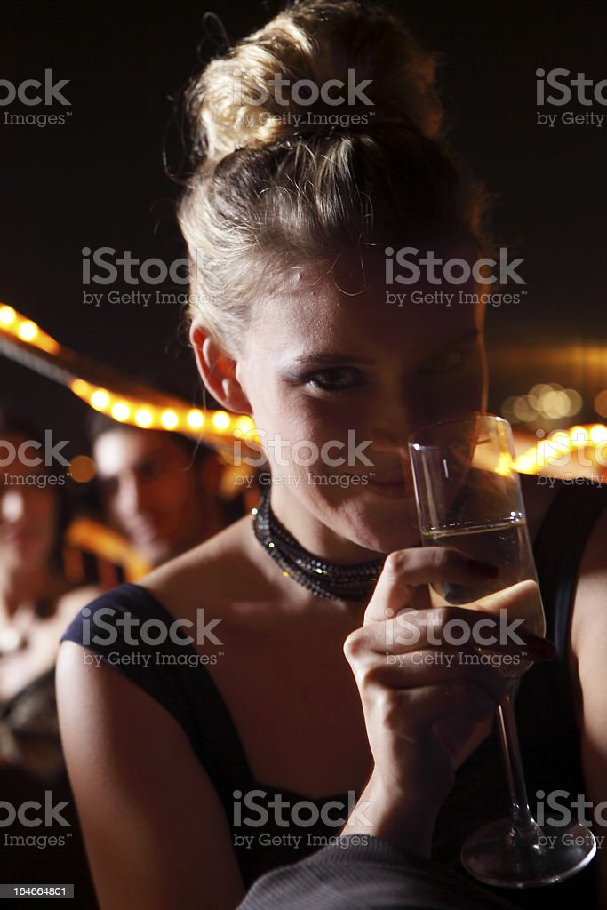 Night party portrait with champagne royalty-free stock photo