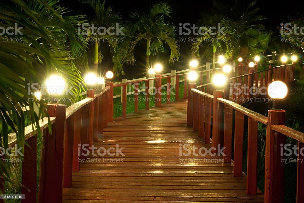 Night pathway and lamp stock photo