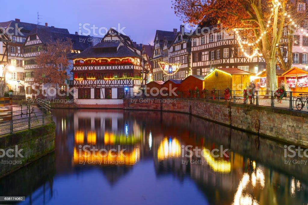 Night Petite France in Strasbourg, Alsace stock photo
