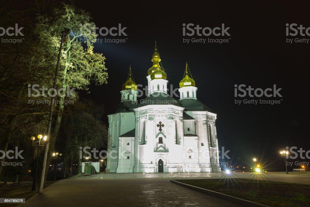Night photo Catherine's church in Ukraine stock photo