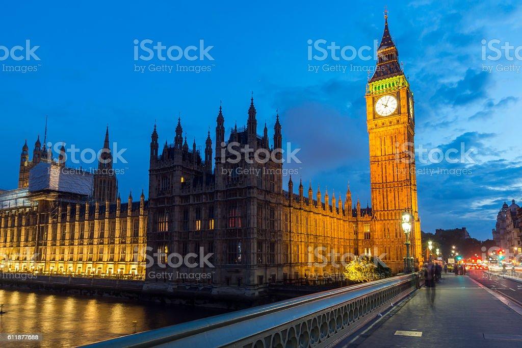 Night photo of Houses Westminster Bridge and Big Ben, London stock photo
