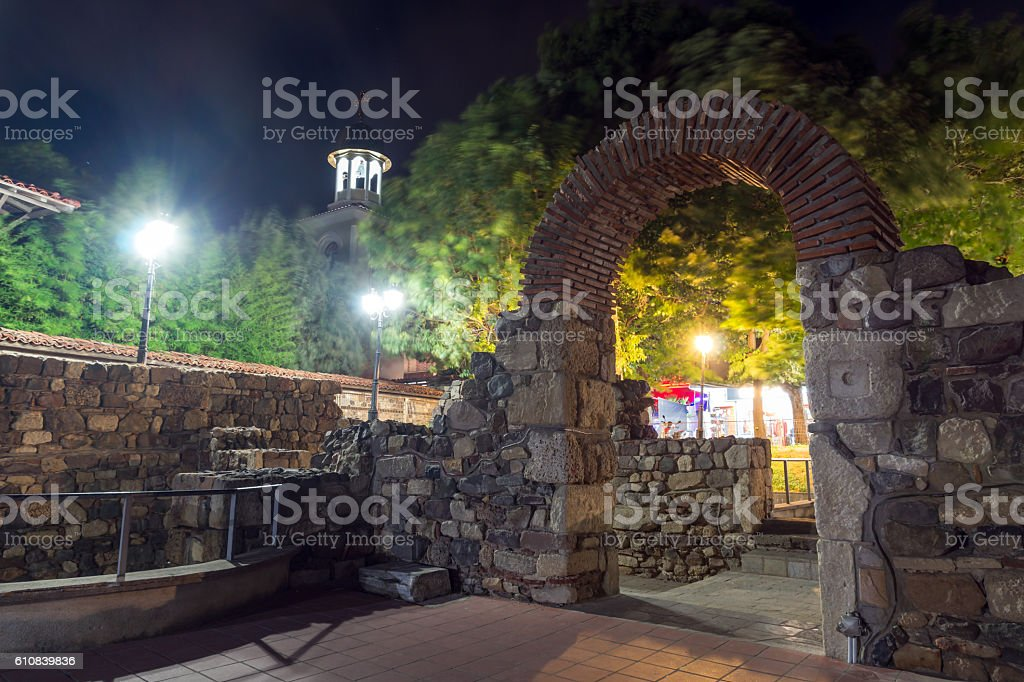 Night photo of Ruins of Ancient Sozopol, Bulgaria stock photo