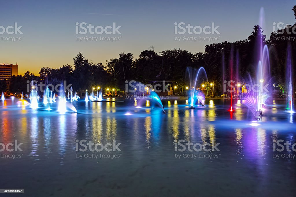 Night photo of Singing Fountains in City of Plovdiv stock photo