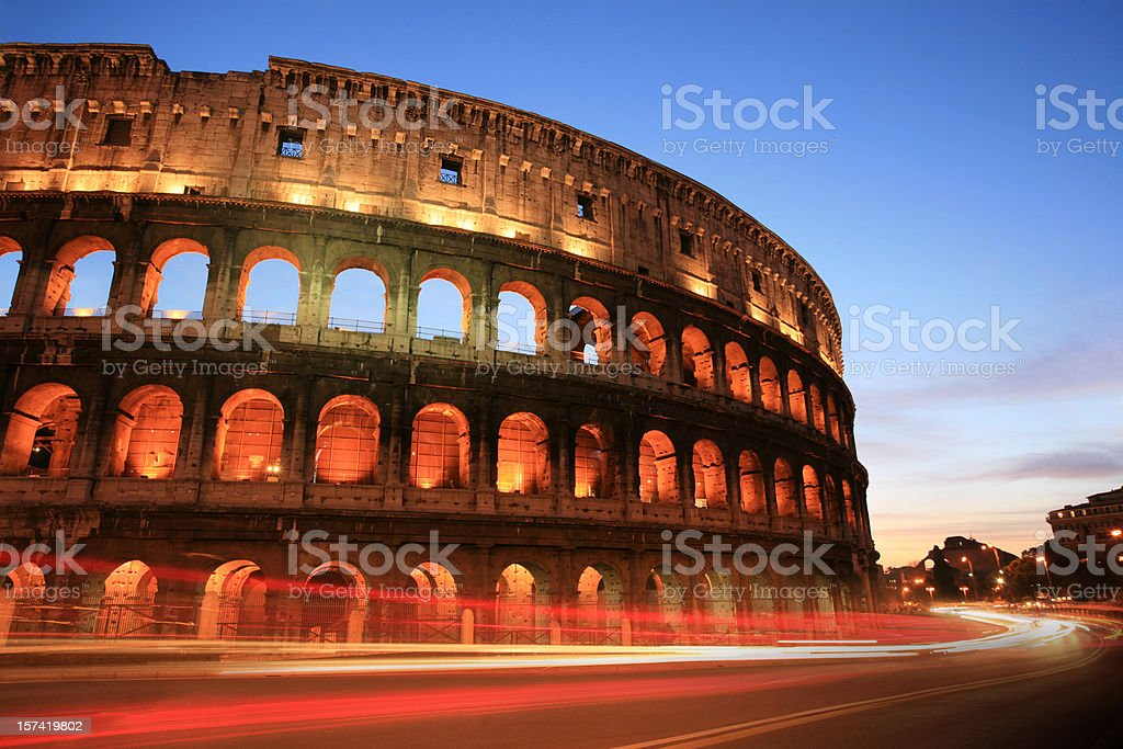 A night photo of the Coliseum in Rome, Italy royalty-free stock photo
