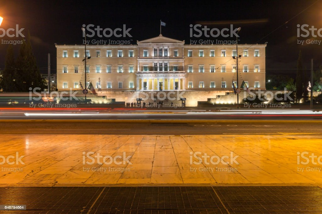 Night photo of The Greek parliament in Athens, Greece stock photo