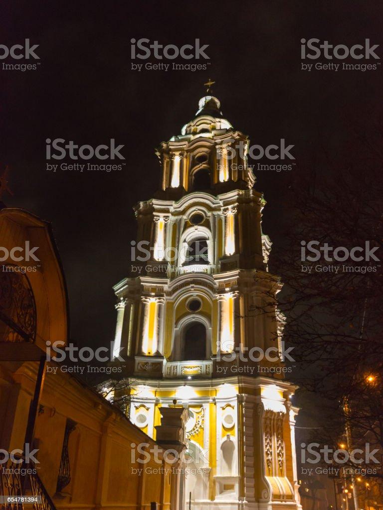 Night photo of the Trinity Cathedral in Chernigov stock photo