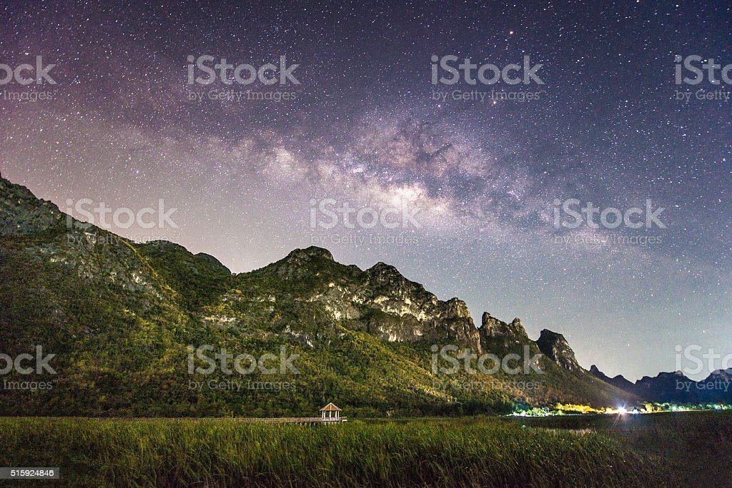Night photography of milky way and mountain stock photo