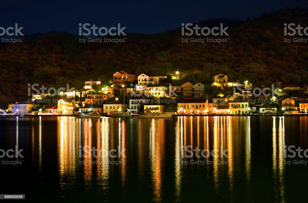 night photography of Vathy Ithaca Greece stock photo