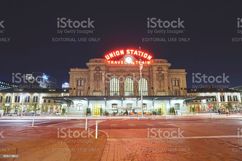 Night picture of the Denver Union Station building. stock photo