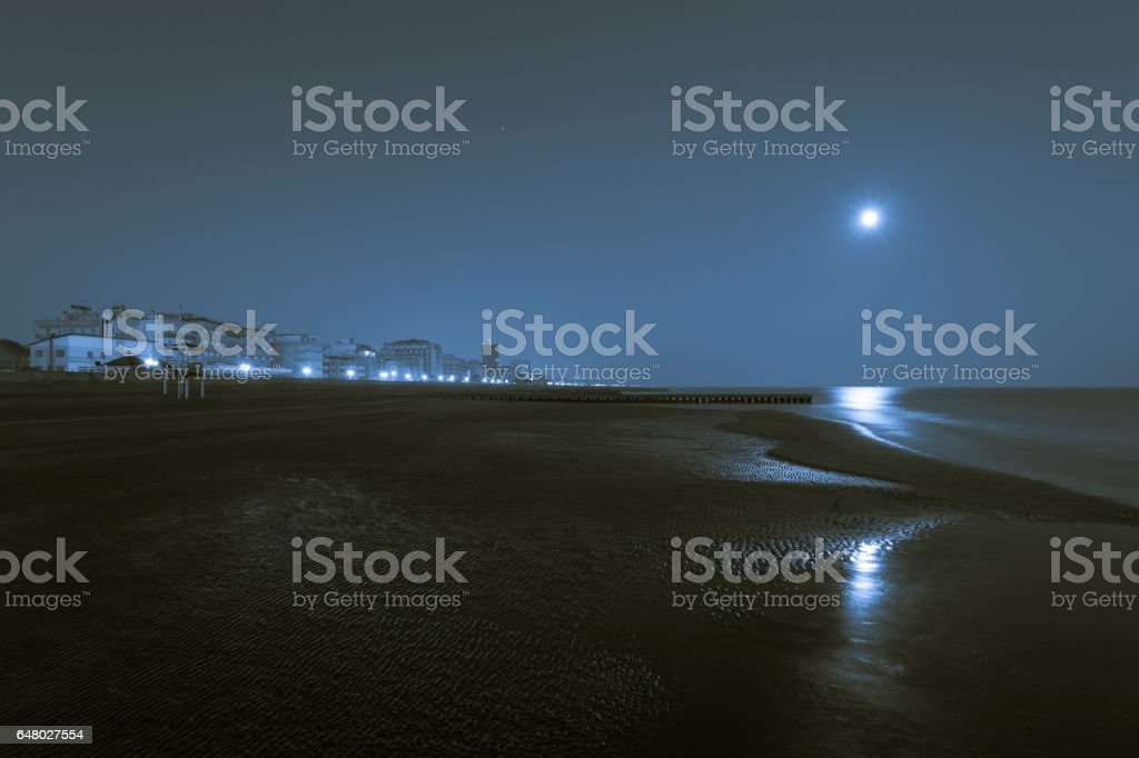 Night pictures at the beach, with hotels background stock photo