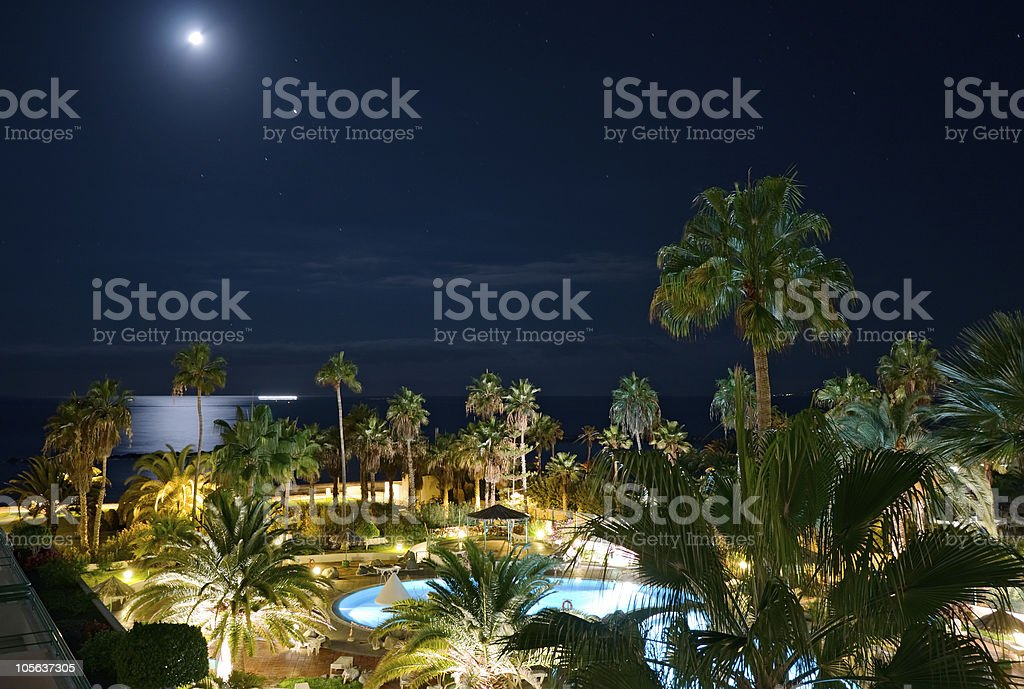 Night poolside, Canary Islands stock photo