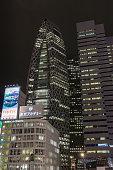 Night portrait of Cocoon building in Tokyo.