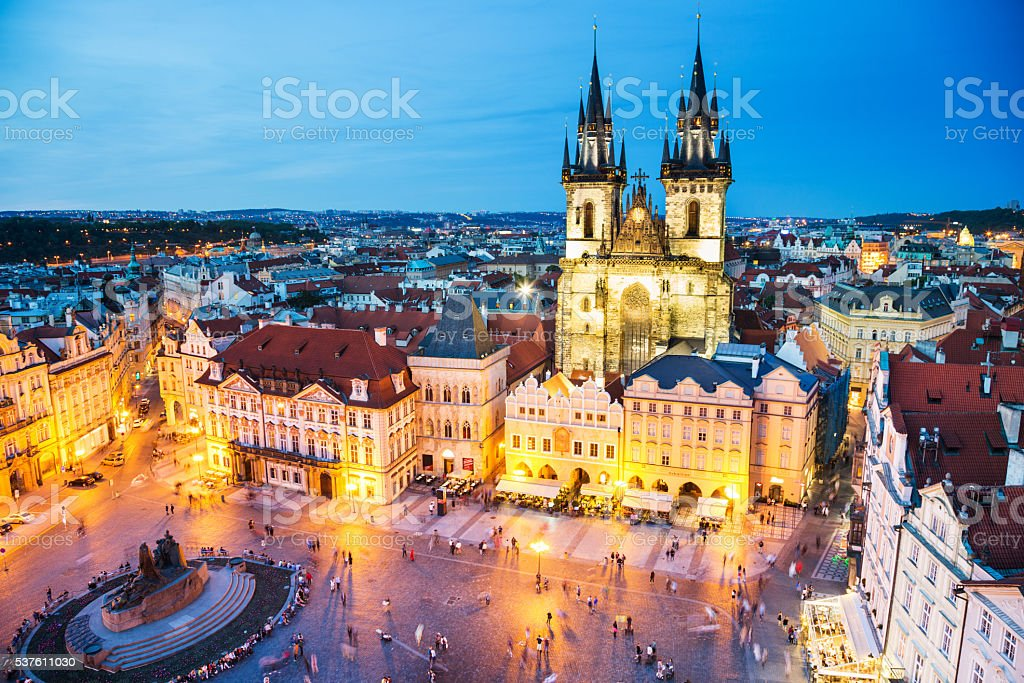 Night Prague - old town square stock photo