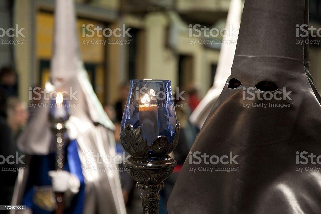 Night Procession during Semana Santa in Cartagena, Spain stock photo