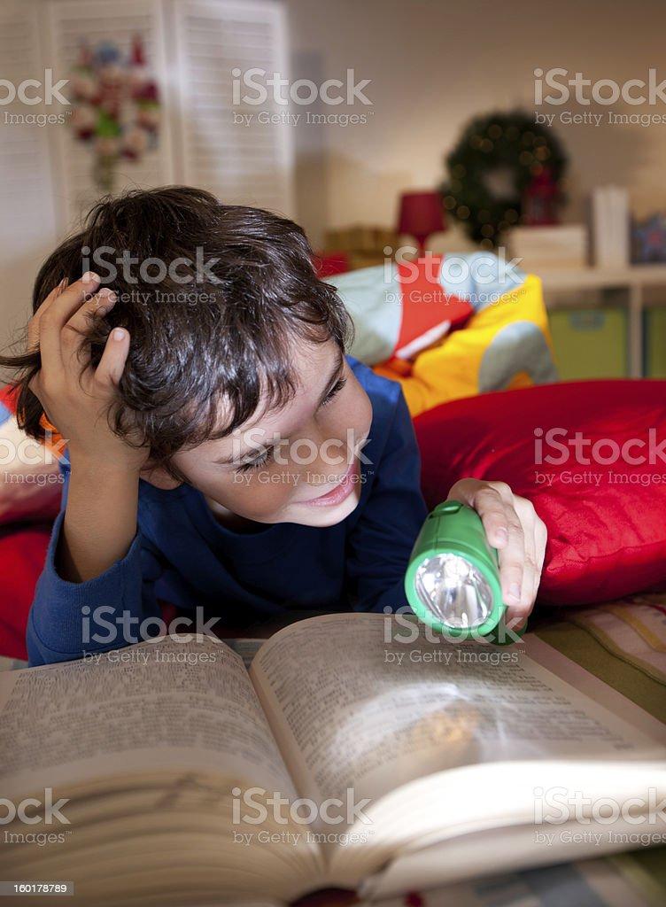 Night reading stock photo