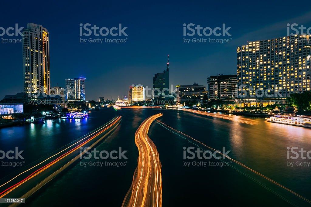 Night River Scene through Bangkok stock photo
