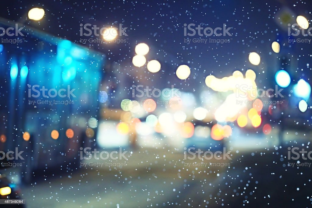 Night road in the city of lights cars traffic jams stock photo