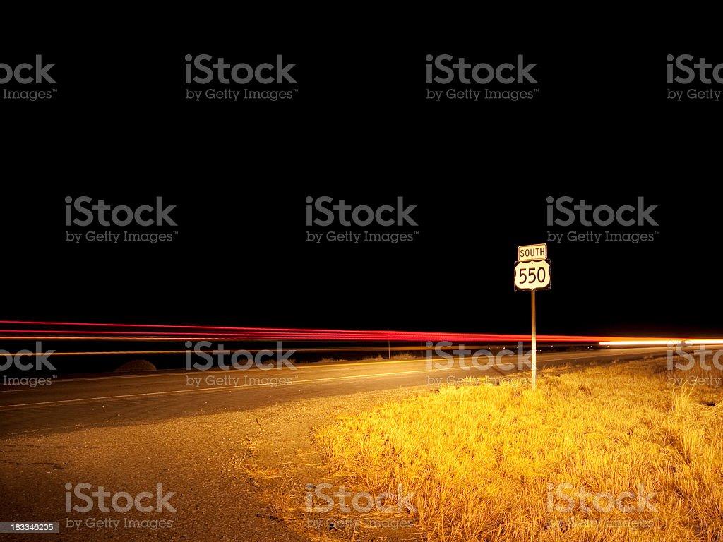 night road trip stock photo
