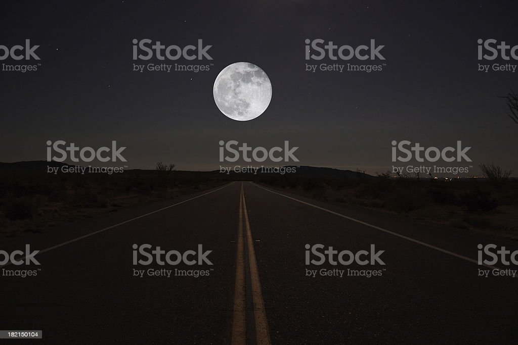 Night Road with Moon stock photo
