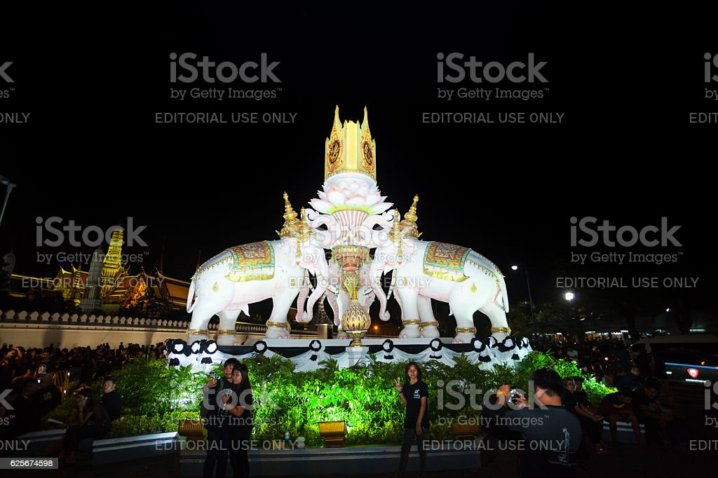 Night scene at elephant monument stock photo