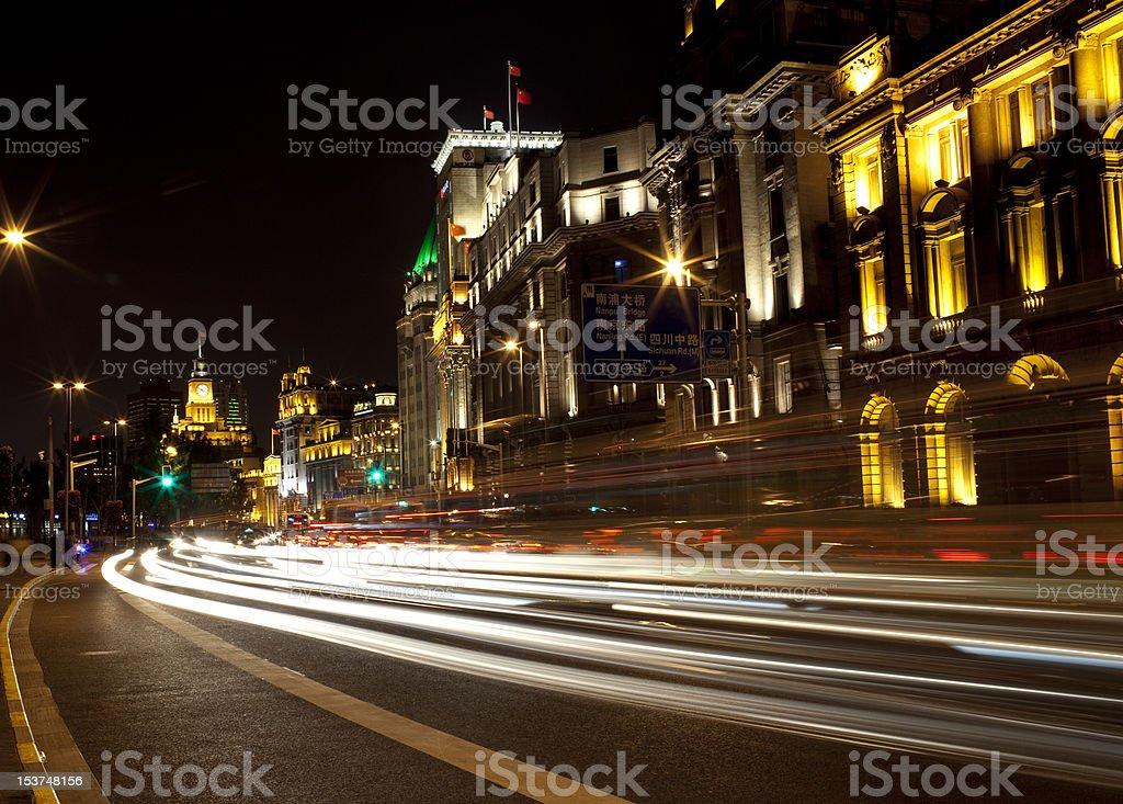 night scene at shanghai bund royalty-free stock photo