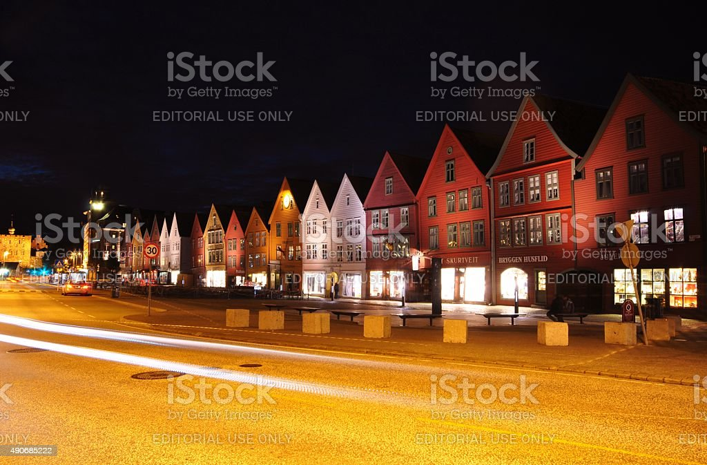 Night Scene, Bryggen - Bergen, Norway stock photo