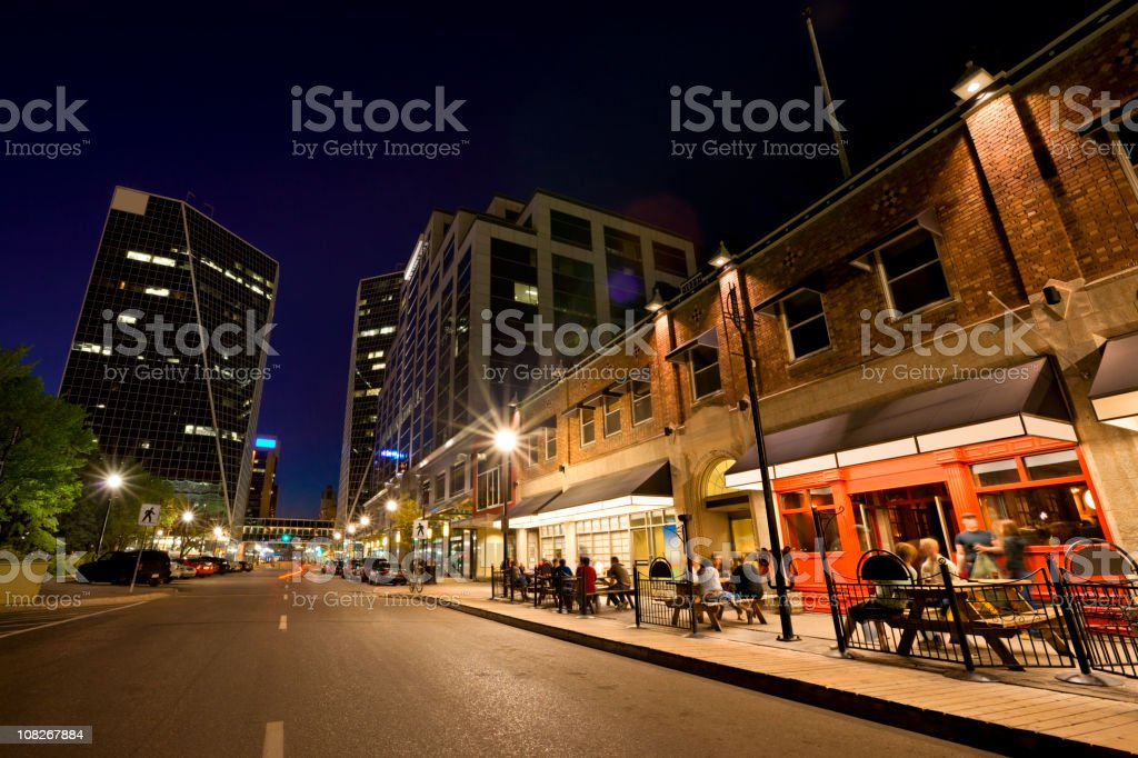 Night Scene from Downtown Regina stock photo