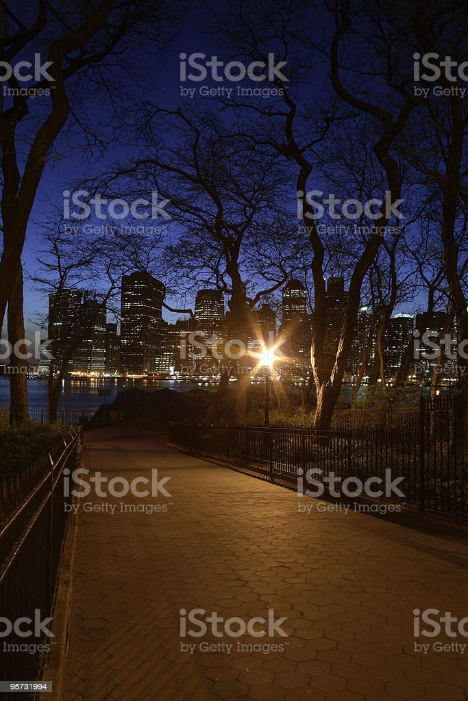 Night scene in Brooklyn with view of lower Manhattan royalty-free stock photo