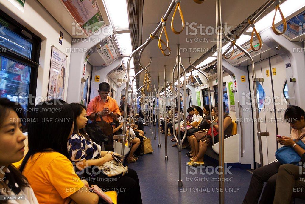 Night scene in BTS skytrain stock photo