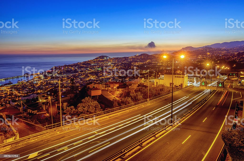 Night scene in Funchal, Madeira stock photo