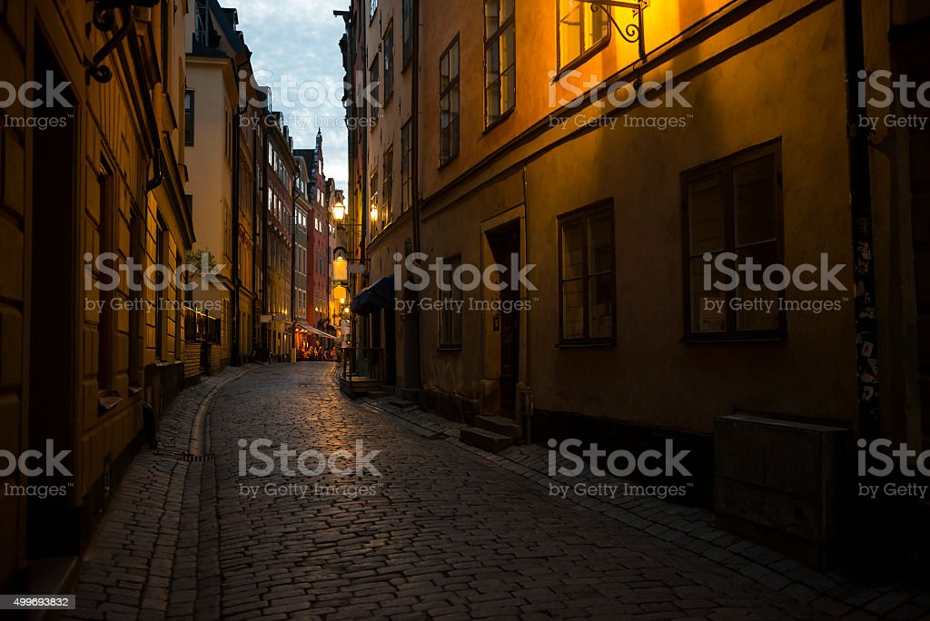 Night scene in Stockholm's Gamla Stan stock photo
