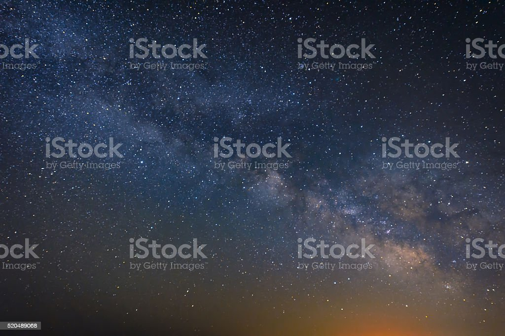 night scene milky way background stock photo