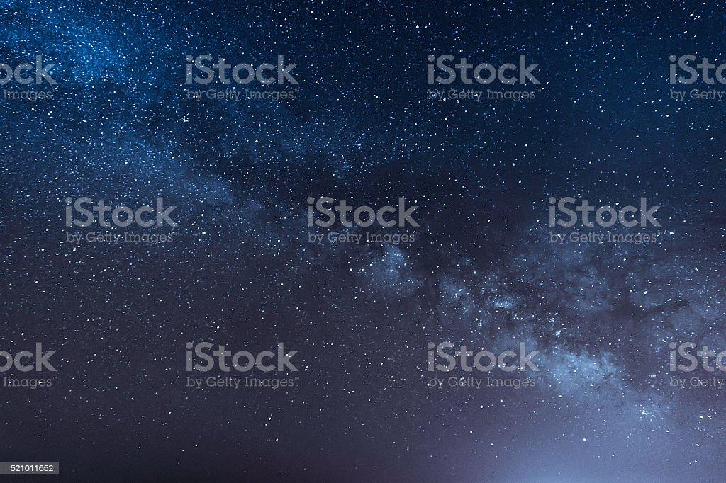 night scene milky way background stock photo