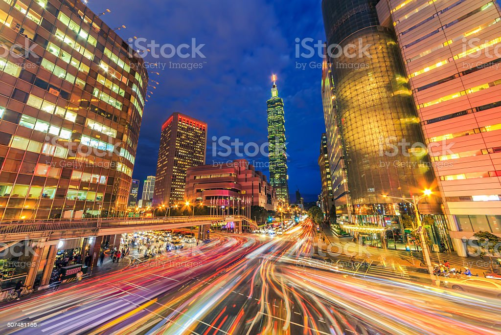 Night scene of Central of Taipei, Taiwan stock photo