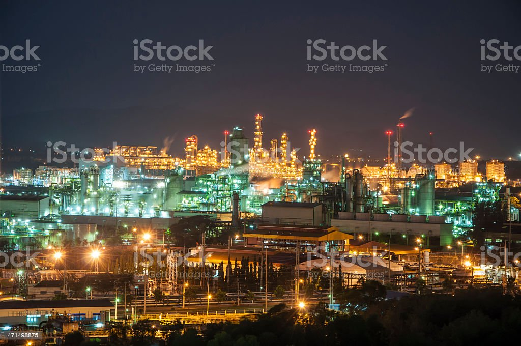 Night scene of chemical plant royalty-free stock photo