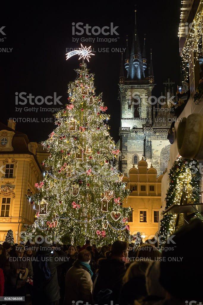 Night scene of Christmas tree in Prague stock photo