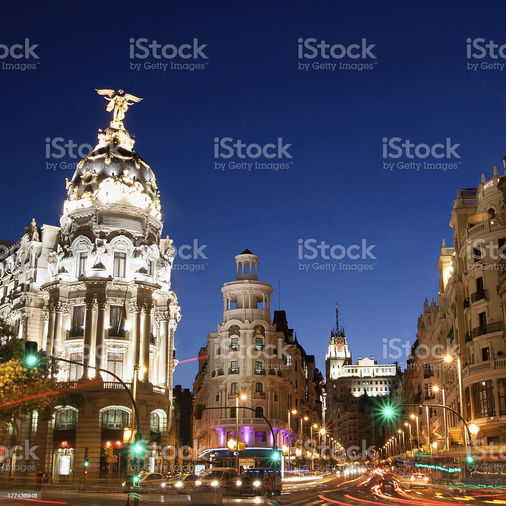 Night scene of Gran Via in Madrid, Spain in Europe stock photo