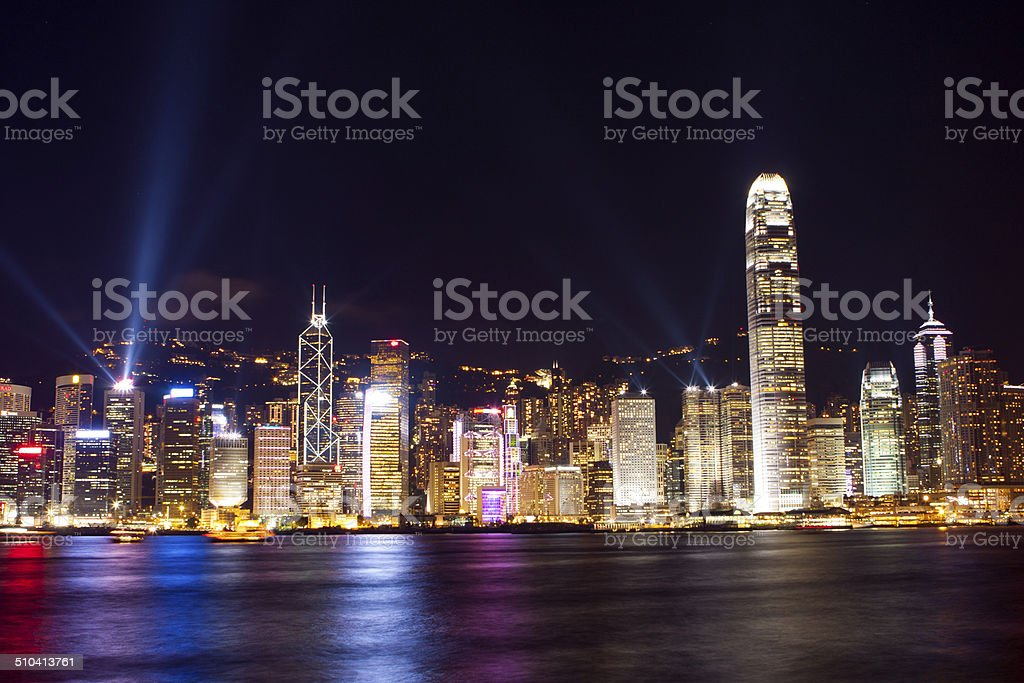 Night scene of Hong Kong stock photo