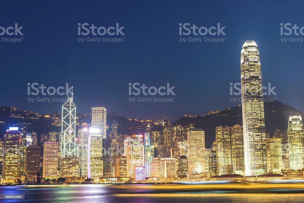 night scene of hongkong royalty-free stock photo