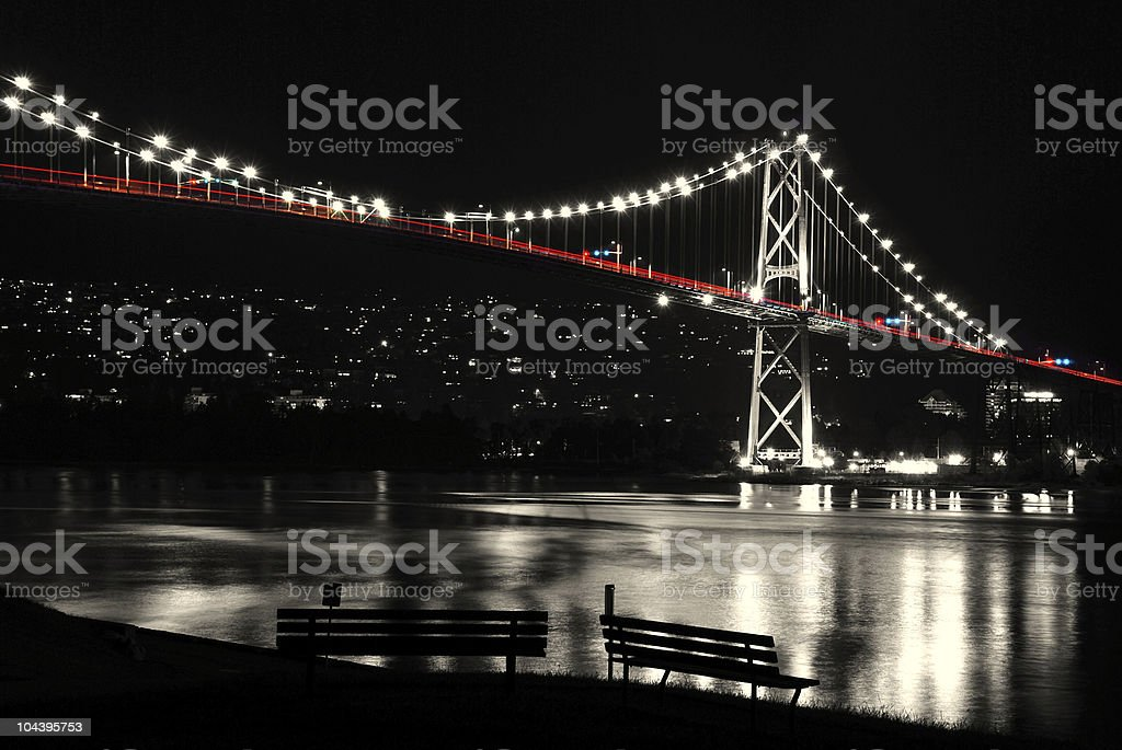 Night scene of Lions Gate in BC Canada. royalty-free stock photo