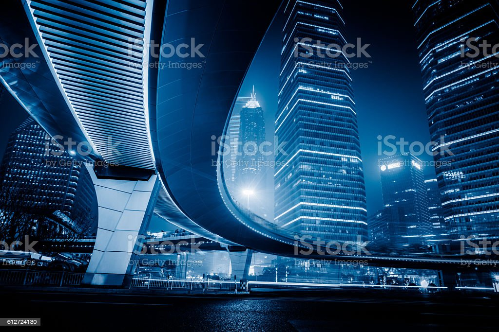 night scene of lujiazui financial district,shanghai,china stock photo