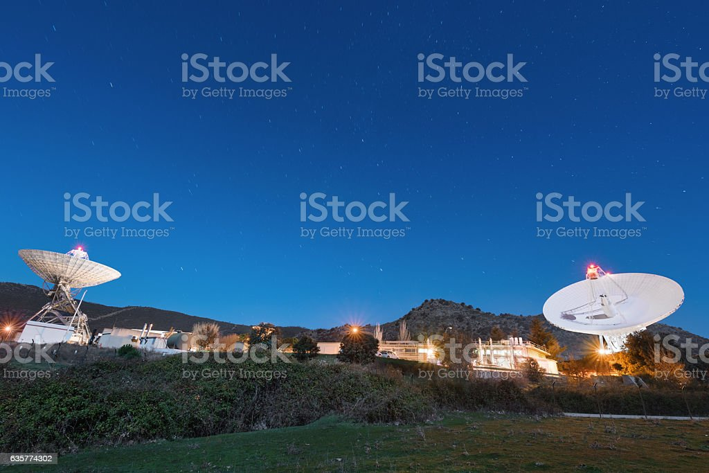 Night scene of Madrid Deep Space comunication complex. stock photo