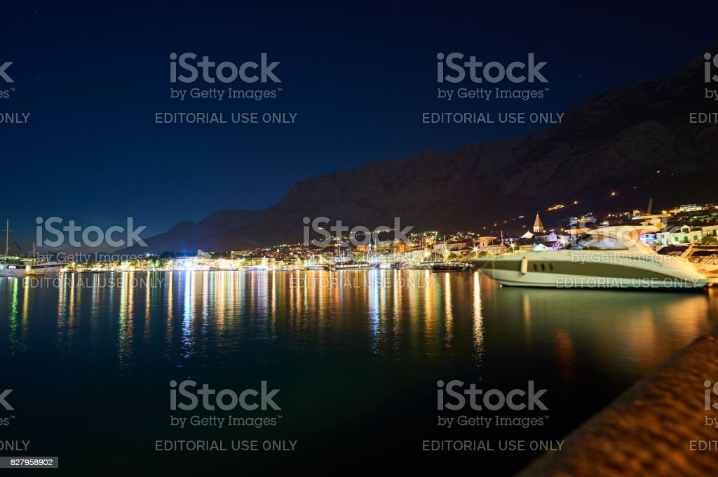 Night scene of Makarska stock photo