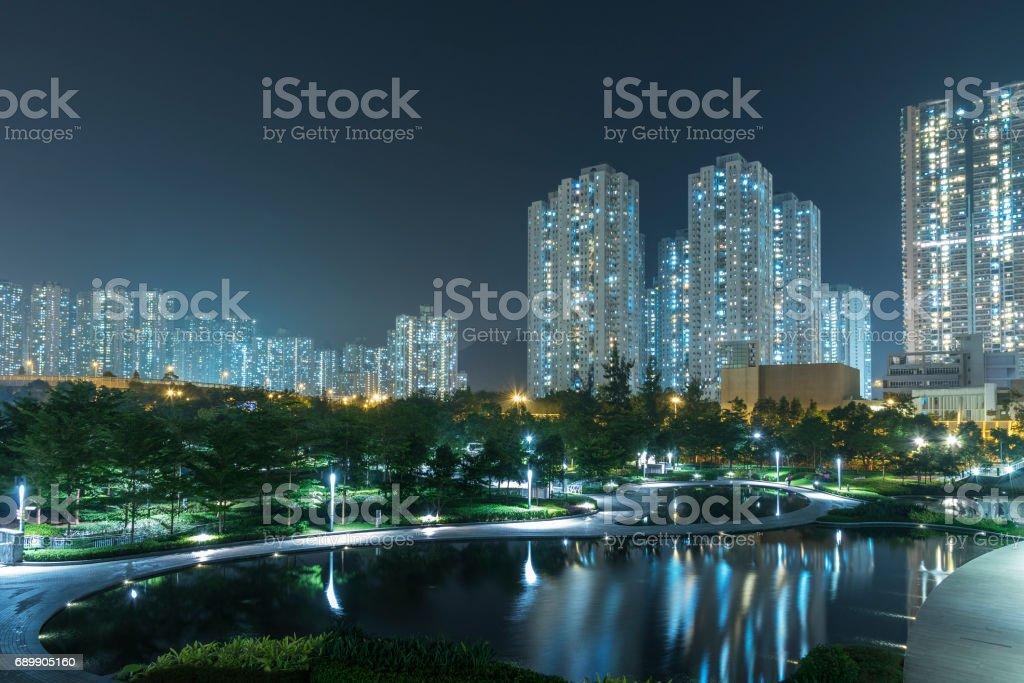 Night scene of modern city stock photo