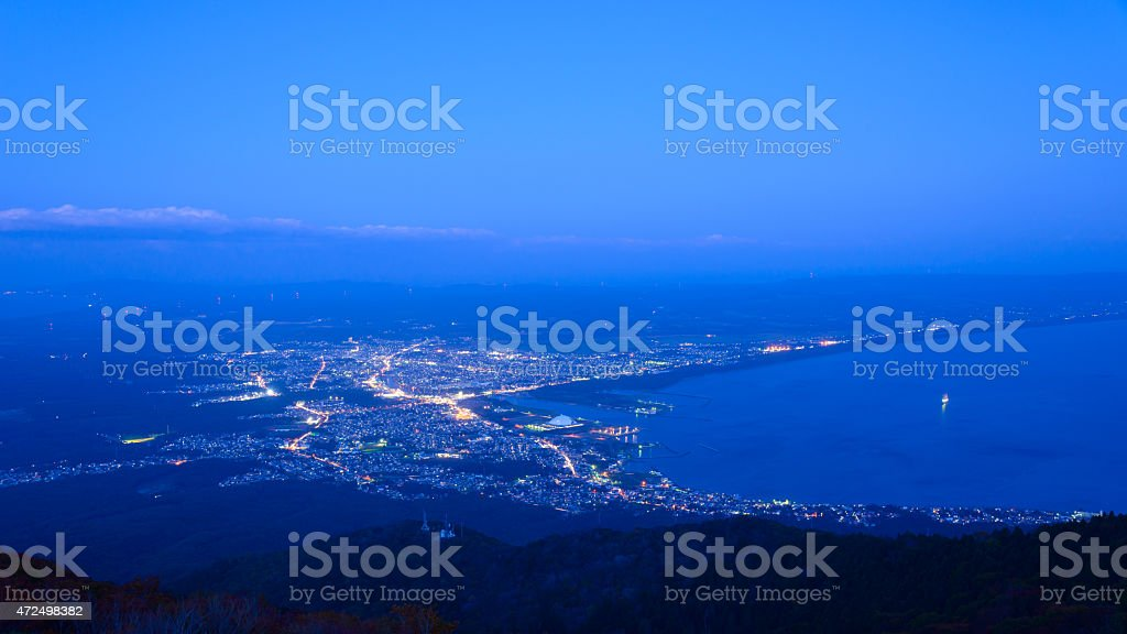 Night scene of Mutsu city stock photo