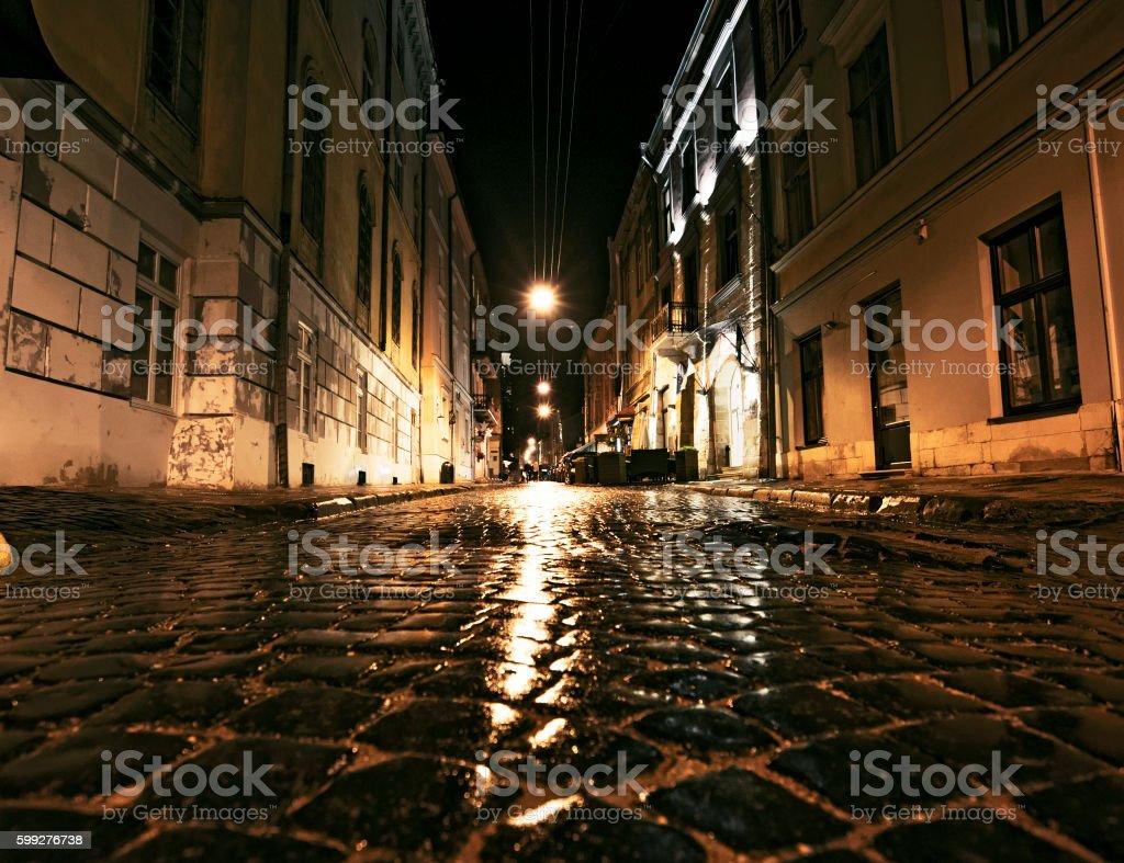 Night Scene of Old Streets - Lviv, Ukraine stock photo